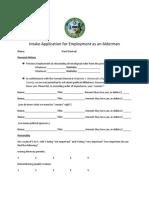 Intake Application for Employment as an Alderman