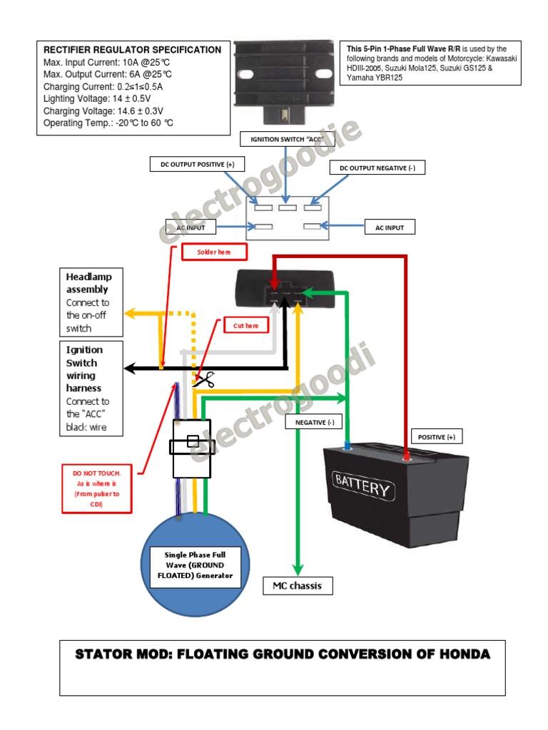 stator mod-floating ground honda wave100 xrm110   solder   rectifier, Wiring diagram