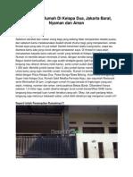 Iklan Dijual Rumah Di Kelapa Dua, Jakarta Barat, Nyaman Dan Aman