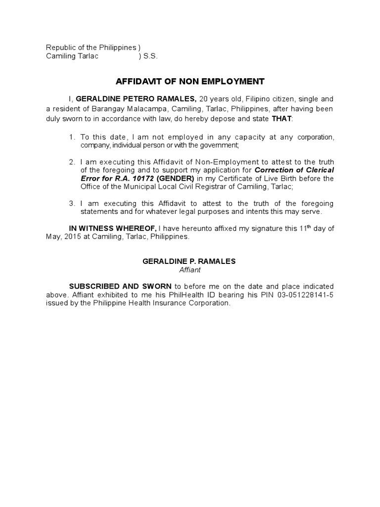 Affidavit Of Employment Letter from imgv2-1-f.scribdassets.com