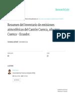 Inventario de emisiones 2011, Cuenca Ecuador