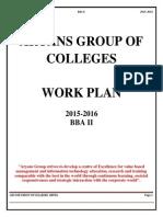 Work Plan BBA-II, best bba college in chandigarh