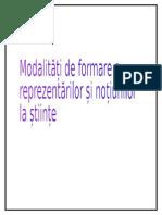Modalități de Formare a Reprezentărilor Și Noțiunilor La Științe