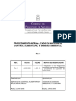Procedimiento en Materia de Control Alimentario y Sanidad Ambiental
