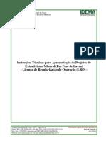 IDEMA - Instruções Técnicas Para Apresentação de Projetos de Extrativismo Mineral (Em Fase de Lavra) - Licença de Regularização de Operação (LRO)