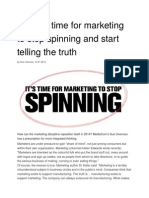 Why It is Time for Marketing to Stop Spinning and Start Telling the Truth