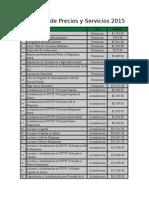 Catalogo de Precios y Servicios 2015 FIDENA