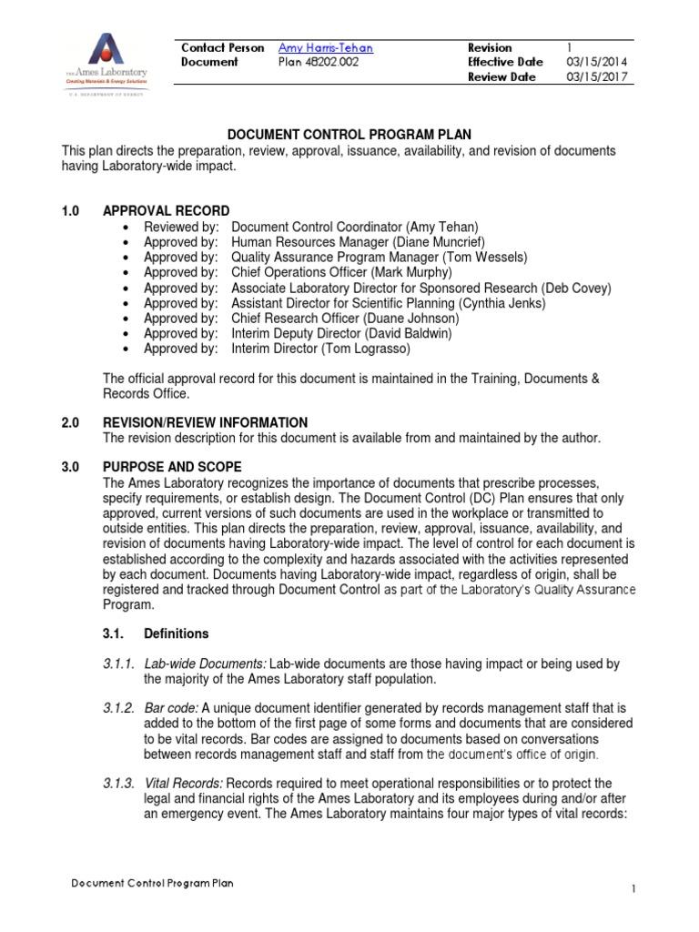 document control plan   records management   laboratories, Presentation templates