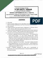 Katy City Council agenda from Sept. 29