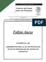 LINEAMIENTOS PARA LA LEY DE PROTECCION DE DATOS PERSONALES DEL ESTADO DE CHIHUAHUA