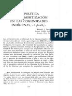 La Política de Desamortización en Las Comunidades Indígenas 1856-1872