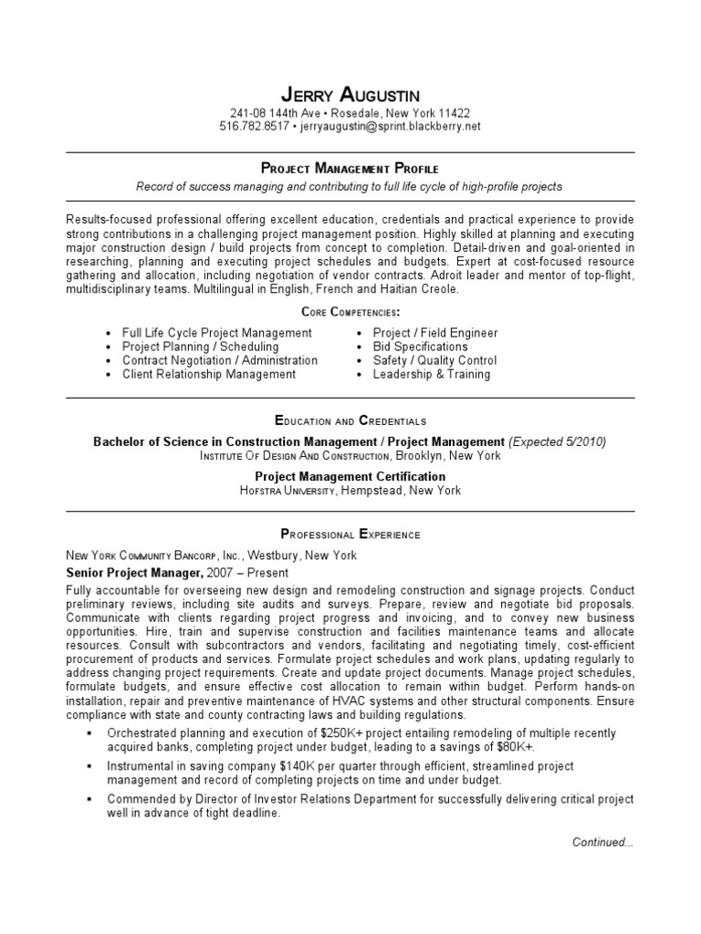Jobswire Resume Of Jerryaugustin Project Manager Project