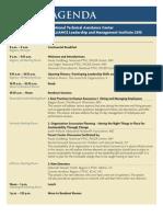 Alliance Leadership and Management Institute Agenda 2010