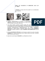 Avaliação Bimestral de Filosofia 2º Bimestre 2014 (2º Chamada) - 1º Ano