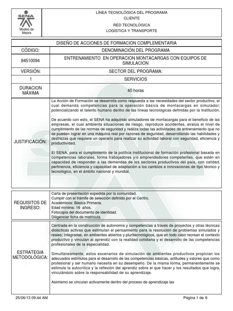 Entrenamiento en Operacion Montacargas Con Equipos De