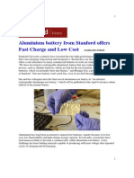 Aluminium Battery From Stanford Offers Fast Charge and Low Cost