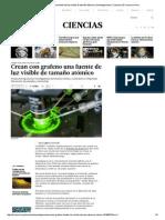 Crean Con Grafeno Una Fuente de Luz Visible de Tamaño Atómico _ Investigaciones _ Ciencias _ El Comercio Peru