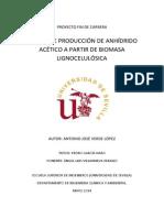 Planta de Produccion de Anhidrido Acetico a Partir de Biomasa Lignocelulosica