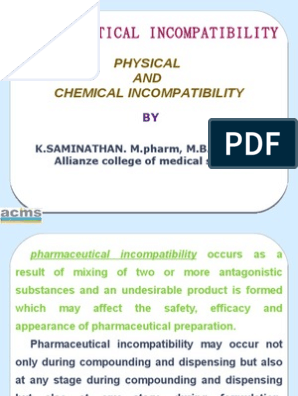 Physical and Chemical Incompatibilities | Solubility | Salt (Chemistry)