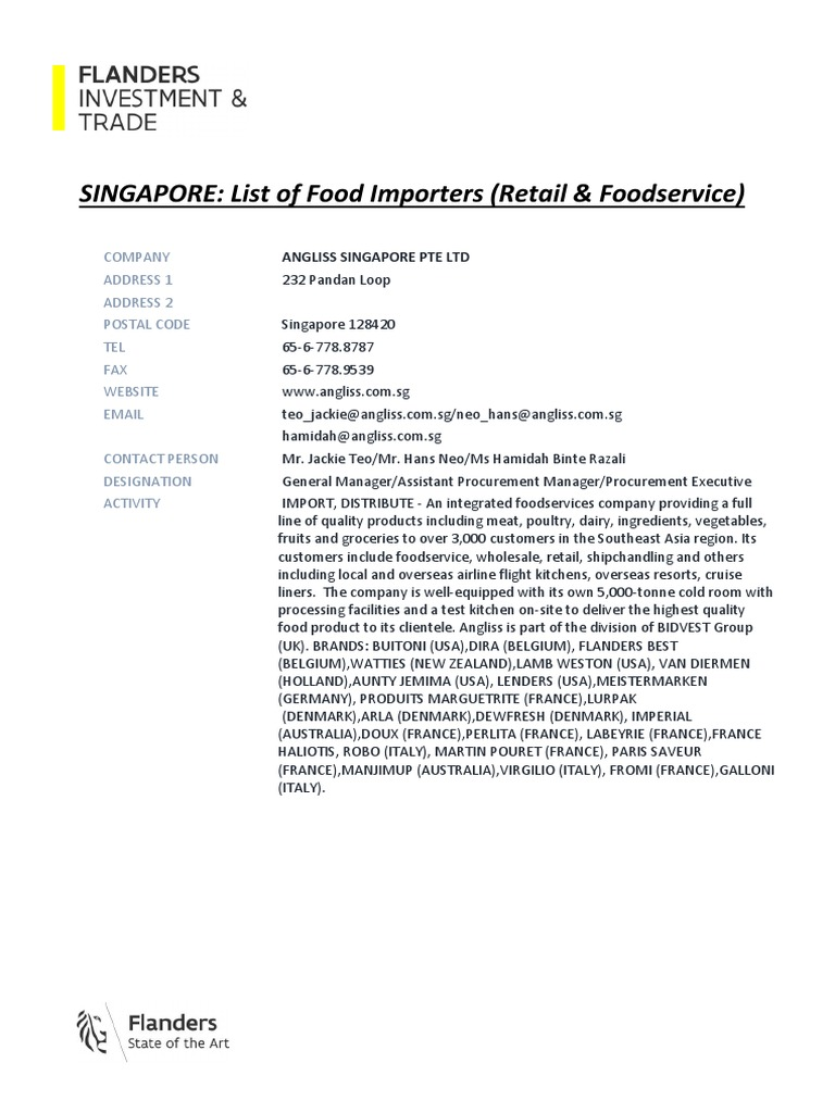 SINGAPORE - List of Food Importers (Retail & Foodservice