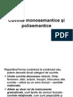 Cuvinte Monosemantice Si Polisemantice
