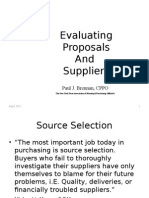 Evaluating Proposals and Suppliers