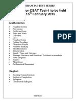 Vajiram CSAT Test 01 (15!02!2015)