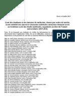 Liste de Classement Ecn 2015