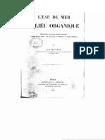 Quinton, René L'Eau de Mer, Milieu Organique