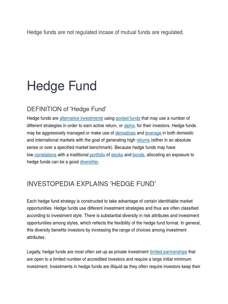 Hedge Funds Option Finance Futures Contract