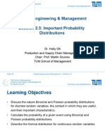 Important Probability Distributions