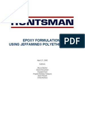 Epoxy Formulations Huntsman | Epoxy | Stoichiometry