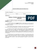 Evaluación Primi Quintos Años 2012
