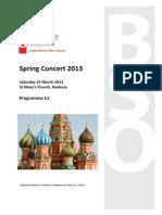 Concert Programme 2013