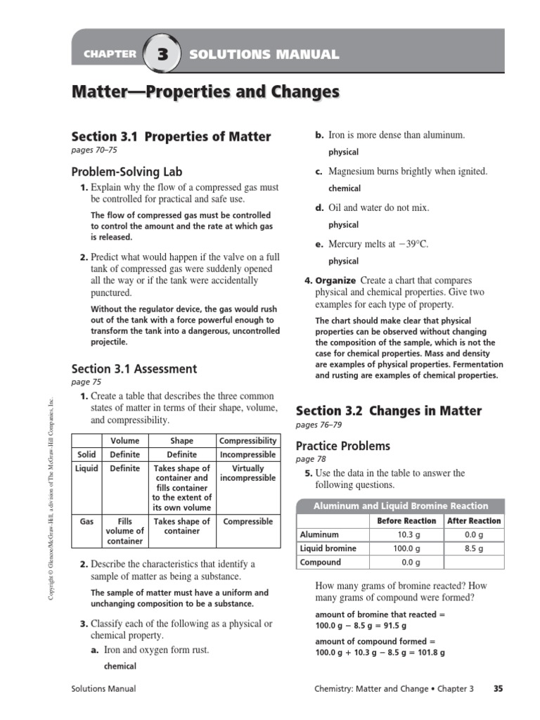 worksheet Glencoe Physical Science Worksheets chapter 3 assessment mixture chemical substances