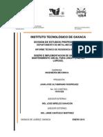 Reporte Tecnico Plan De Mantenimiento Anual A Linea 1 Pastas Largas