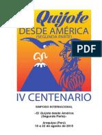 """Programa del Simposio Internacional «El """"Quijote"""" desde América (Segunda Parte)». Arequipa (Perú), 19 a 22 de agosto de 2015"""