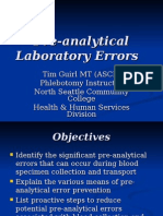 Pre-Analytical Laboratory Errors