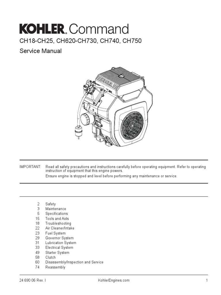 Kohler 740 Variable Ignition Wiring Diagram Free Download Cv22s 14resa Generator Engine Service Manual Ch740 Carburetor