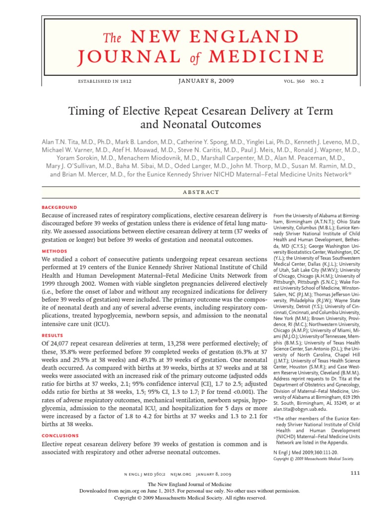 Timing of Elective Repeat Cesarean Delivery at Term ...