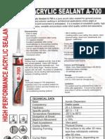 Sealant - 1st Acrylic a-700 Catalog & PSB 2011