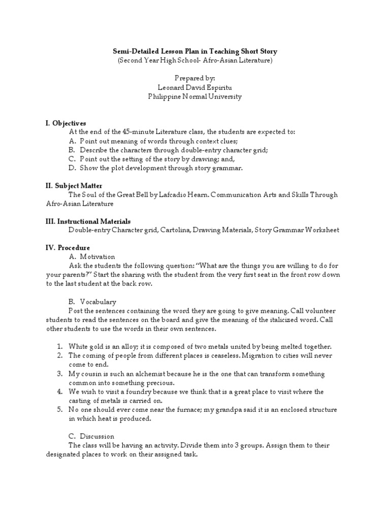Semi-Detailed Lesson Plan in Teaching Short Story | Lesson