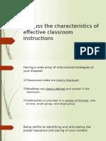 Characteristics of Effective Classroom Instructions
