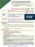 2015 Adverizement for M.tech Admission