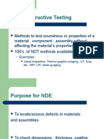 Introduction to Non Destructive Testing(NDT)