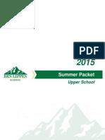 2015 Upper School Summer Packet
