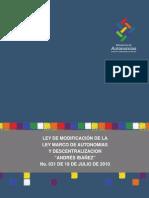 Ley de Modificación a la Ley Marco de Autonomías y Descentralización