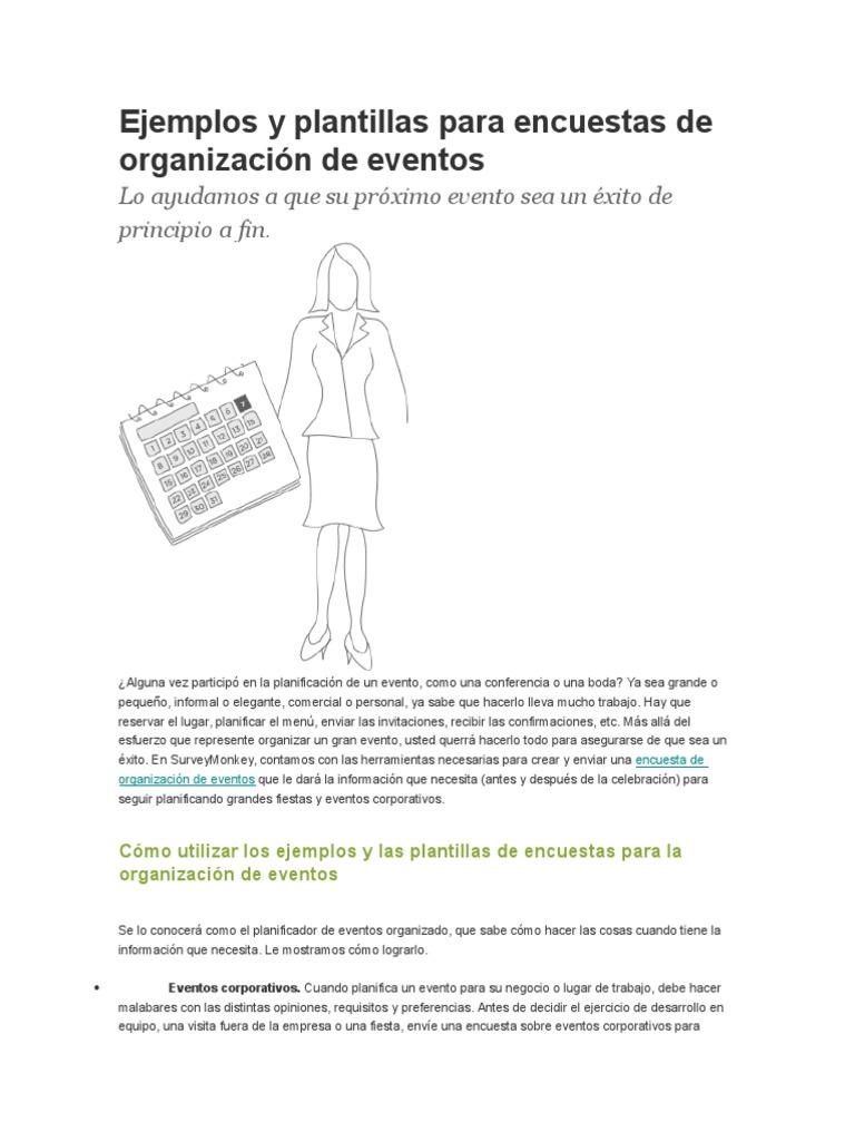 Ejemplos y Plantillas Para Encuestas de Organización de Eventos ...