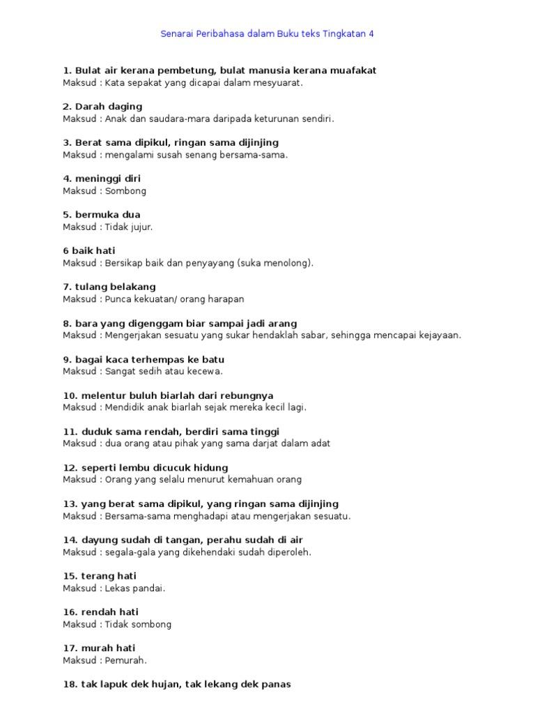 Senarai Peribahasa Dalam Buku Teks Tingkatan 4