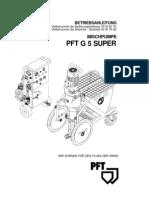 PFT G5 SUPER - MISCHPUMPE BETRIEBSANLEITUNG